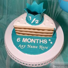 Happy 1/2 Birthday Cake, 6 Month Cake With Name Edit