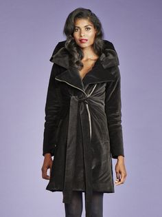 want this vegan winter coat!!! *PREORDER* Emily In Insulated Organic Moleskin - Black + Red - VauteCouture