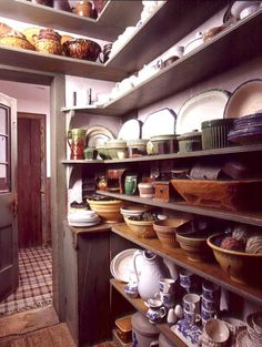 In an early house, simple painted shelves are beautiful with vintage dishware well arranged. Photo: Gross & Daley.