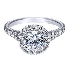 18k White Gold Diamond Halo Engagement Ring | Gabriel & Co NY | ER7923W83JJ