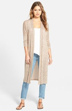 Bobeau Long Side Slit Open Front Cardigan available at #Nordstrom