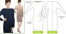 Dolman/batwing sleeve dress sewing pattern, easy, jersey knit with stretch