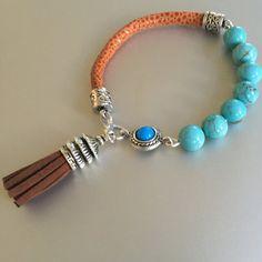 Turquoise Suede Leather and Tassle Bracelet by joytoyou41 on Etsy