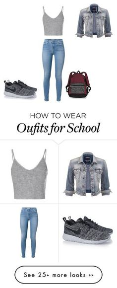 """""""School"""" by salome-5 on Polyvore featuring Victoria's Secret, 7 For All Mankind, Glamorous, maurices and NIKE"""