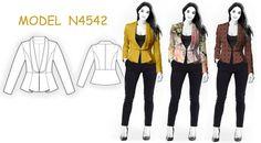 Jacket met lange kraag.  STOFADVIES: lichte kostuumstoffen van natuurlijke of gemengde materialen.