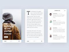 Blog App Design, clean minimal, Ghani Pradita, interface