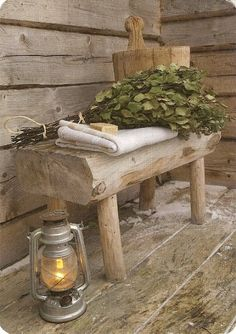 "---""The traditional 'vasta' (birch branches), 'kiulu' (wooden bucket) and linen to sit on, natural soap and a lantern to light up the path to the sauna in the darkness ;"