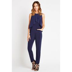 BCBGeneration Chiffon Overlay Jumpsuit ($69) ❤ liked on Polyvore featuring jumpsuits, blue, blue jumpsuit, white sleeveless jumpsuit, sleeveless jersey, bcbgeneration and white chiffon jumpsuit