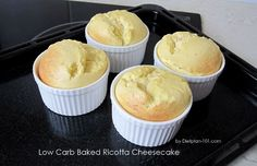 This is a low-carb and low-fat crustless cheesecake recipe suitable for South Beach phase Baked in ramekins, made with 2 main simple ingredients: low-fat ricotta cheese and eggs. Low Carb Baked Ricotta Cheesecake (for South Beach Phase Crustless Cheesecake Recipe, Ricotta Cheesecake, Cheesecake Recipes, Dessert Recipes, Ricotta Cheese Desserts, Dessert Ricotta, Baked Ricotta, Low Carb Sweets, Low Carb Desserts