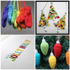 Fused Glass Christmas Tree Ornaments (and knitted ornaments)