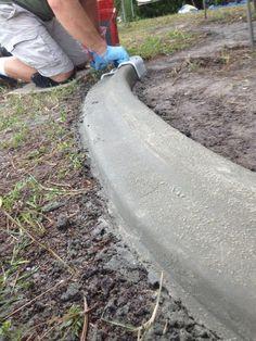 3. Shape a DIY Concrete Garden Edge