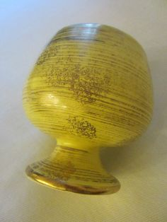 Mid Century Sun Glo Inarco Japan Golden Ceramic Pedestal Bowl Copyrighted