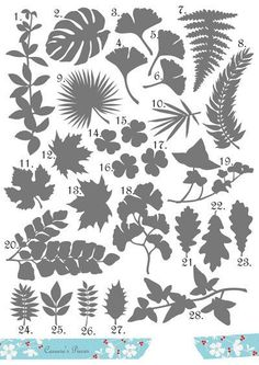 Palm, oak, ivy, maple, ginko, fern, and more.    ** With this purchase you will receive TWENTY EIGHT .svg files for each of the leaves shown. ***
