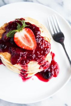 Buttermilk Pancakes with Triple Berry Sauce | breakfast for dinner