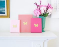 BUTTERFLIES Gold Acrylic, Gold Embossing and Gloss Coral Enamel on Canvas Handmade in St. Louis, MO  Spring has come and with the promise of Summer,