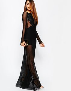 TFNC | TFNC Mesh Overlay Maxi Dress With Floral Applique Bust at ASOS