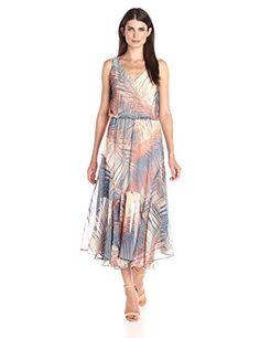 London Times Womens V Neck Printed Chiffon Blouson Midi Dress Blue Peach 2 >>> Click image to review more details.