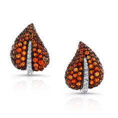 Fire opal & diamond ivy clip-on earrings Fire opal & ivy clip-on in antiqued silver & yellow gold, microset with 152 opals weighing cts and 22 diamonds weighing cts. I Love Jewelry, Gemstone Jewelry, Fine Jewelry, Jewellery, Sharon Stone, Leaf Earrings, Clip On Earrings, Diamond Earrings, Diamond Jewelry