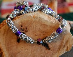 Fancy Purple and Silver Beaded Byzantine Chain by GeekyGaeaDesigns