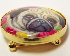 Pink and gold brooch containing a tiny print of my kitsch Pug & Roses artwork Gold Brooches, Brooches Handmade, Tiny Prints, Vintage Marketplace, Kitsch, Pink And Gold, Pugs, Roses, Jewellery
