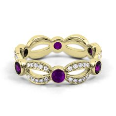Natural Amethyst & Diamond Full Eternity Ring - 18 Carat Yellow Gold - All Sizes