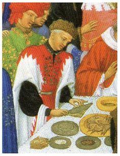 """Es probablemente el manuscrito ilustrado más importante del siglo XV, """"le roi des manuscrits enluminés"""" (el rey de los manuscritos ilustrados). Fue encargado por Jean, duque de Berry, alrededor de 1410 y realizado por el taller de los hermanos Limbourg.    Un pequeño bodegón en la mesa"""