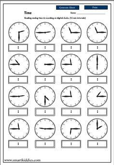 Recording digital time after reading an analog clock, Mathematics skills online, interactive activity lessons Clock Worksheets, School Worksheets, Montessori Math, Homeschool Math, Teaching Time, Teaching Math, Math Clock, Learn To Tell Time, Math Intervention