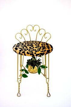 Mid-Century Hollywood Regency Leopard Velvet Gold Metal Vanity Stool || Glam Scroll Back Vintage Boudoir Stool by ELECTRICmarigold on Etsy