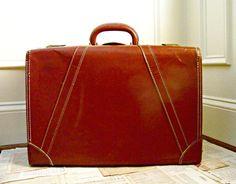 Vintage Suitcase Honeymoon Getaway Eco Wedding by thescreenporch, $50.00