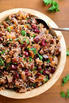 Wild Rice Stuffing with Butternut Squash, Pears, Pecans, and Dried Cranberries - a healthy gluten-free side dish for Thanksgiving #recipe #vegan TheRoastedRoot.net