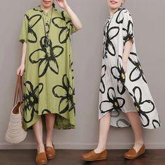 Big flower tunics long summer dress
