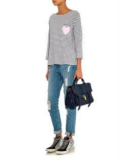 Heart-print striped top