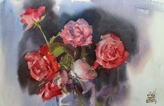 Watana Kreetong The same roses /2016 38x56cm