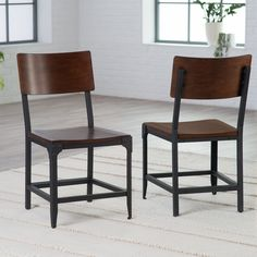 Belham Living Trenton Wood and Metal Dining Chairs - Set of 2 - What's better than one dining chair? Two! The Belham Living Trenton Wood and Metal Dining Chairs- Set of 2 ensures there's always an extra space...