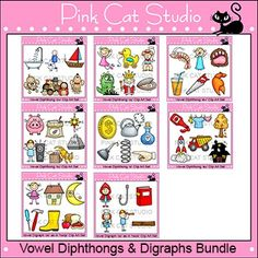 This value packed collection of 48 unique clipart designs contains 6 clip art designs for each of the vowel diphthongs au, aw, oi, oy, ou, ow and the digraphs oo as in cook and oo as in hook.  All images come in both color and black and white for a total of 96 images.The possibilities are endless for what you can create with these images!This product is a .zip file.
