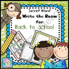 """Back to School Write the Room Fun!   - This is """"write the room"""" with a fun twist to allow for differentiation!  Keep students engaged as they write sight words, finding the """"secret words"""" to complete school-themed sentences.  Younger students can still enjoy completing the """"write the WHOLE room"""" page!  This set includes 2 sets of sight word cards, 1 EDITABLE set of cards, 5 write the room lists with word clues, 1 write the whole room page, and 1 write the room & make sentences ..."""