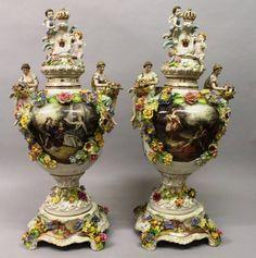 Par de vasos em porcelana Alema Dresden do sec.19th, 77cm de altura, 7,290 USD / 6,460 EUROS / 25,780 REAIS / 47,170 CHINESE YUAN soulcariocantiques.tictail.com
