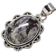 "Pinolith Jasper 925 Sterling Silver Pendant 1 1/2"" PD556537"