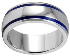 Really like this one! blue sapphire men's wedding band | Men's blue and silver titanium wedding band ring