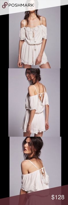 FREE PEOPLE EYELET ROMPER FREE PEOPLE eyelet embroidered romper. Off the shoulder style adjustable tie straps. 282159 FREE PEOPLE is almost sold out of this!   Retail: $128 Sizes: M,L   ❤I have over 300 new with tag Free People items for sale! I love to offer bundle discounts! ❤No trades. love the item but not the price? Submit an offer! Free People Pants Jumpsuits & Rompers