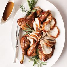 If you're short on cooking time, a spatchcocked bird might be your best friend; a twelve pounder will cook in about an hour and a half. Plus it leaves the meat exceptionally juicy and skin cracklingly crisp. Roast Spatchcocked Turkey from @Martha Stewart, found at www.edamam.com.