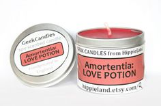 Amortentia: Love Potion Scented Soy Tin Candle...and is customizable, just like it should be :)