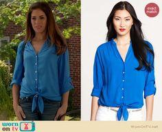 Marisol's turquoise blue v-neck tie front blouse on Devious Maids. Outfit details: http://wornontv.net/18476/