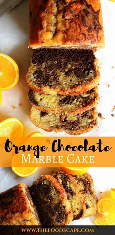 Marble Cakes really are the best of both worlds - in this Orange Chocolate marble cake, you have a springy, fragrant Orange cake swirled with a Dark Chocolate sponge - a match made in heaven! Chocolate Marble Cake, Chocolate Orange, Chocolate Loaf Cake, Marble Cake Recipes, Dessert Recipes, Food Cakes, Cupcake Cakes, Cupcakes, New Cake
