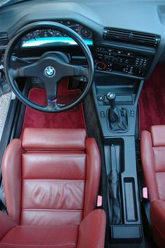 e30 interior, must find red floor mats to match my seats red!