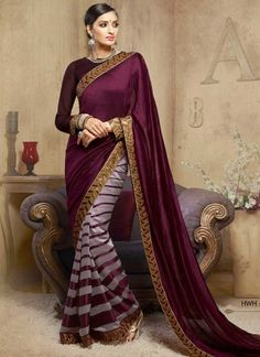 Blooming Purple And Violet Half N Half Saree http://www.angelnx.com/