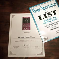 Packing house Wines in Claremont, Ca has received a Best of Award of Excellence from the Wine Spectator consecutively for the last 5 years.