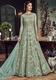 Blue Net Zari Embroidered Stones Work Designer Suit (Unstitched)  #anakali #salwarkameez #salwarsuit #designer #suit #embroidered #zari #embellished #stones #work #traditional #indian #bollywood #ethnic #womans #womens #dress #gown #clothing #fashion #raspberryblush #usshipping #worldwide #shipping #buy #online #shop #USA #France #UK #Australia #mauritius #fiji