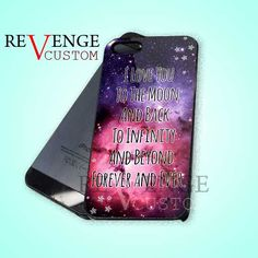 Moon Love Quote Galaxy - iPhone 4/4s/5 Case - Samsung Galaxy S3/S4 Case - Black or White by REVENGECUSTOM on Etsy
