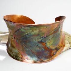 Cuff | FebraRose.  Copper with patina.